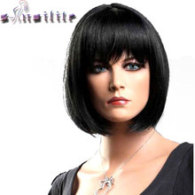 S-noilite Short Straight Wigs Women's BOB Style Full Head Wig Heat Resistant Synthetic real Thick black brown blonde Hair(China)