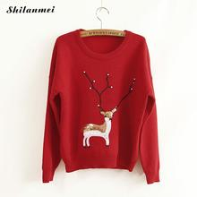 Kpop Rabbit Hair Women Sweater Winter Knit Pullover Sweater with deer Beads Red Christmas sweater Cashmere Sweaters pull femme(China)