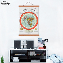Flat Earth Map - Gleason's New Standard Map Of The World Canvas Print Poster with Wooden Frame or Scroll Hanger Ready to Hang