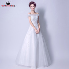 Buy QUEEN BRIDAL 2018 Real Picture Wedding Dresses A-line Lace Pearls Formal Bride Wedding Gowns Vestido De Noiva Bridal Gowns JW91 for $85.98 in AliExpress store