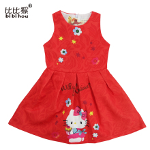 bibihou 2017 mother & kids Hello Kitty Cartoon fancy teenagers Dresses Children Princess Vestidos Roupas Infantis girls Clothes(China)