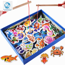 Montessori Wooden toys 32Pcs Fish Magnetic Fishing Toy Set Fish Game Educational Fishing Toy Child Birthday Gifts(China)