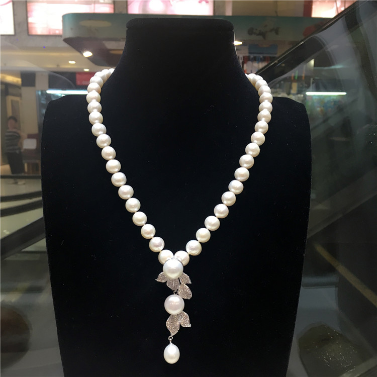 hot sell New 9-10 mm natural white freshwater pearl necklace zircon accessories pendant fashion jewelry