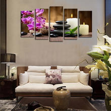 Unframed 5 Panels Purple Flowers Candle Picture Canvas Prints Painting Artwork Wall Art Pictures For Home Decoration