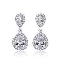 Rhodium Pave Setting AAA Grade CZ Wedding Water Drop earrings luxury dangle cubic zircon bridal earring pin Bridesmaids Earring(China)