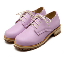 2015 Spring Lacing Flat Casual Oxford Shoes For Women Candy Color Thick Bottom Martin Shoes Women Comfortable School Shoes