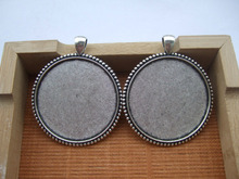 10pcs Antique Silver 40mm Round PENDANT TRAYS Blank Bezel/Cabochon Setting