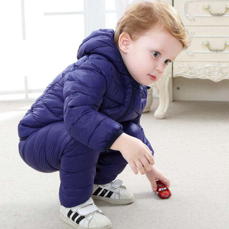 Children down cotton-padded jacket suit boy girl child baby cotton trousers in winter jacket coat two-piece<br>