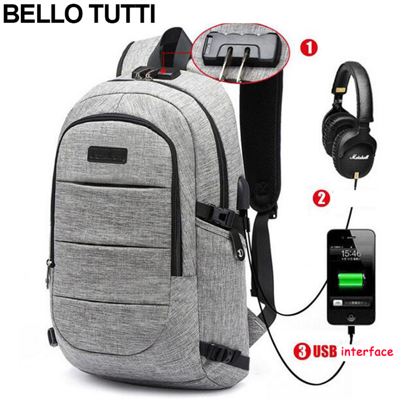BELLO TUTTI  Men Backpack Oxford Fashion USD Charging Casual Backpack For Male Rucksack Laptop Notebook 16inch School Backpack<br>