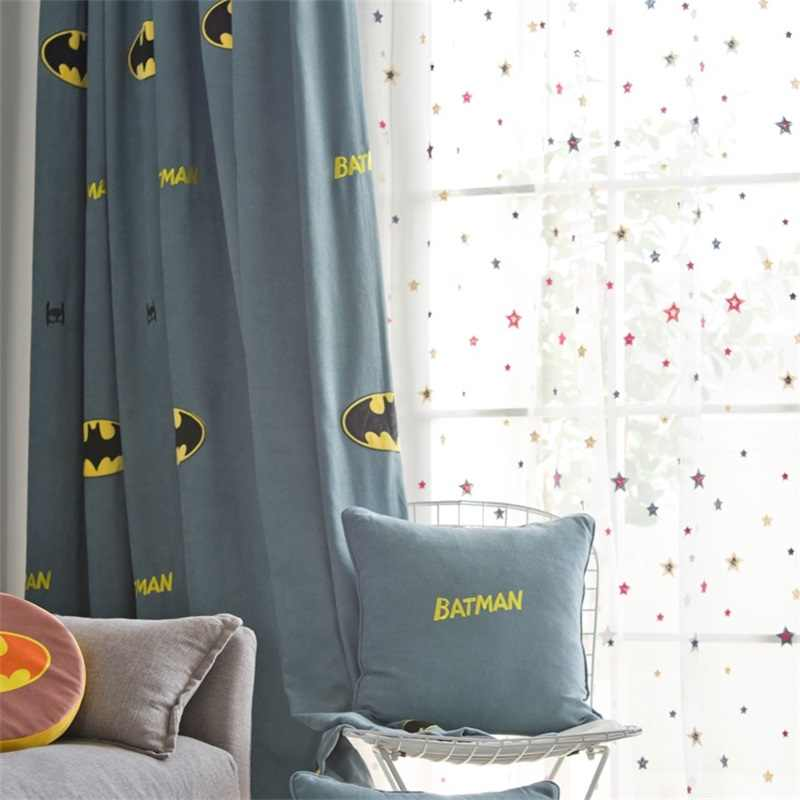 Embroidered Insulated Blackout Curtains for Boy Room Cartoon Children's Room Bedroom Colorful Star Tulle Curtains Customize N7&3
