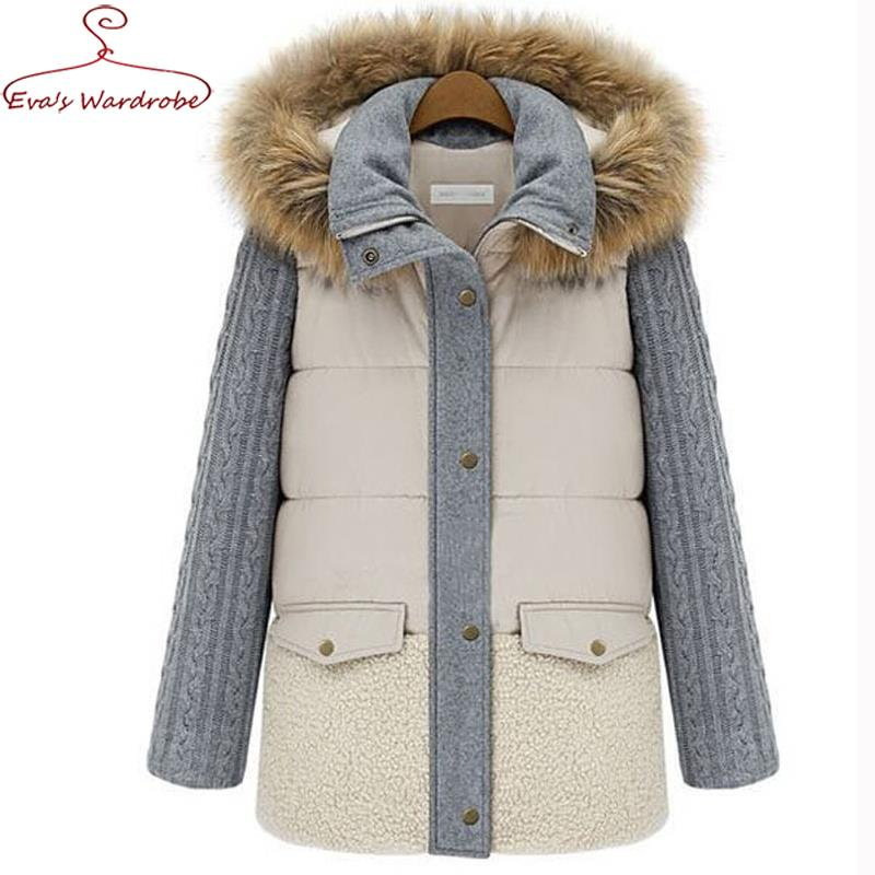 Women Winter Wadded Coat Fashion fur Collars Hooded Cotton padded Parka Double Pocket Medium Long Jacket Mujer Invierno AbrigosОдежда и ак�е��уары<br><br><br>Aliexpress