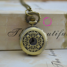 wholesale buyer price good quality fashion lady girl bronze antique brass vintage flower pocket watch necklace hour(China)