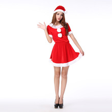 New Santa Claus Xmas Dress Adult Women Party Dress O neck Sexy Uniform Christmas Halloween Costumes Lace Dress