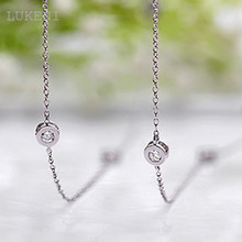 Wholesale White Cubic Zircon Pendant Long Necklace 18KGP White CZ Women's Charm Sweater Chain Free Shipping(China)