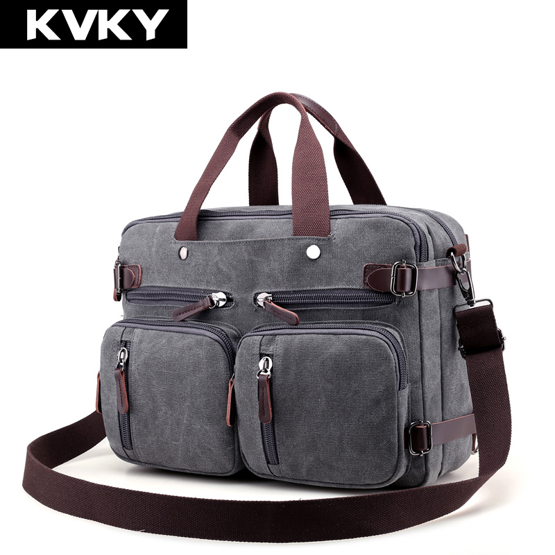 KVKY Brand Men Handbags Canvas Shoulder Crossbody Bags Men Messenger Bags Solid Man Casual Travel Multifunction Back Pack Laptop<br>