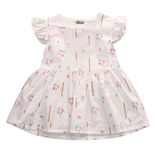 Toddler Kids Dress for Girls Wedding round neck sleeveless Party Backless Floral cotton Vintage Tutu Dresses one pieces(China)