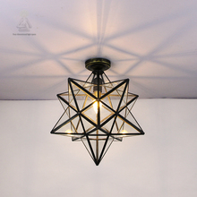 Copper European Baroque Five pointed star iffany ceiling lamp Bohemia surface mounted tiffany light  for Attic bedroom hallway