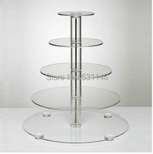 5 Layer Tier Crystal Acrylic Round Cupcake Display Stand For Wedding Party Christmas Cake Display Rack