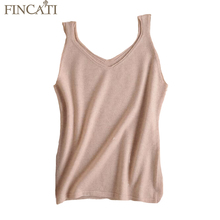 Women Knitted Vests Fincati 2017 Summer Spring V-Neck 100% Pure Cashmere Slim Solid Colors All Match Sleeveless Sweater New Tops
