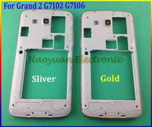New Original Middle plate frame bezel housing+side button+camera glass lens For Samsung Galaxy Grand 2 G7102 G7106