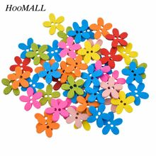 Hoomall Hot 100PCs Wooden Buttons Sewing Scrapbooking Mixed Flowers Shaped Decorative Buttons 2 Holes Garment Accessories(China)
