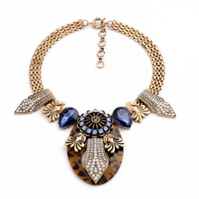 New Arrival 2014 Wholesale Major Suit Retro Thicker chain Pendant Pearl Blue Drops of Water Sweater Necklace
