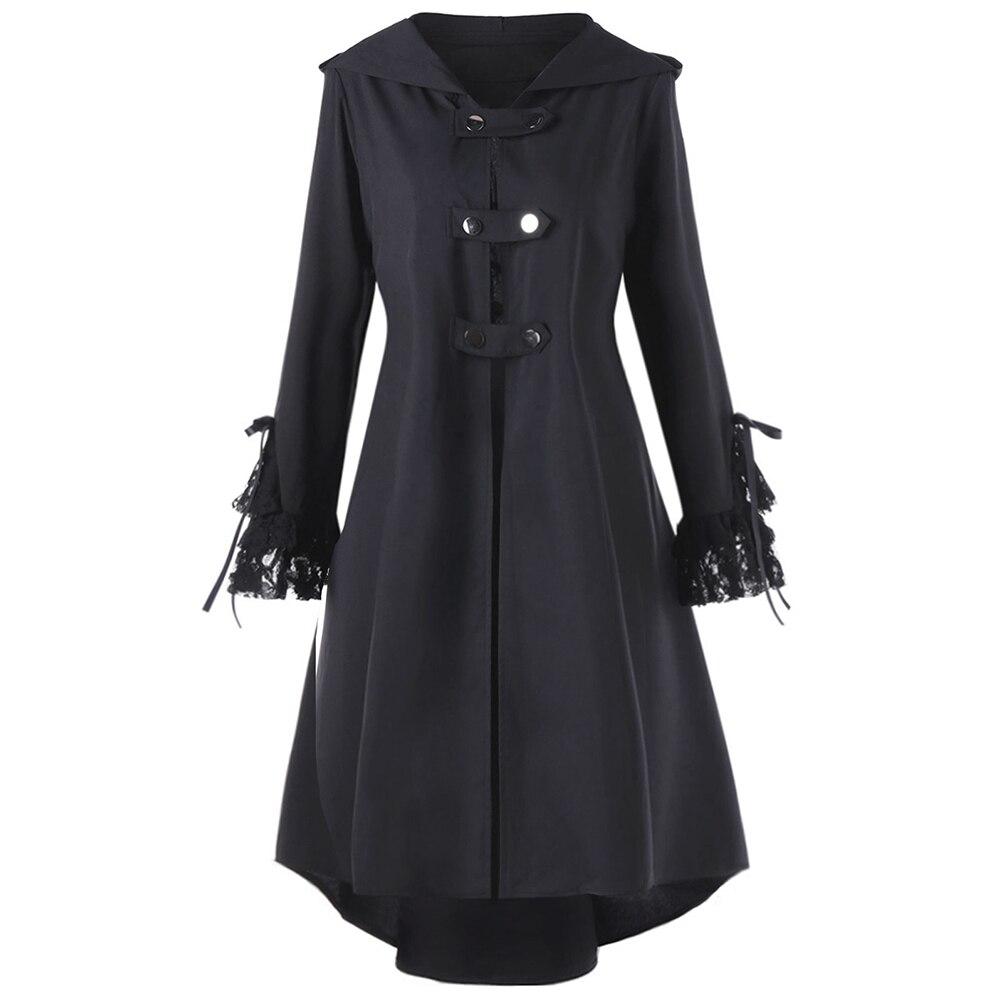 Gamiss Women Plus Size Long Autumn Coats Lace Panel Lace Up High Low ... 6726fd687