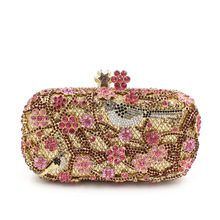 BL052 Luxury diamante evening bags colorful clutch bags women party purse dinner bags crystal handbags gemstone wedding bags(China)
