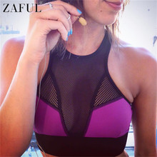 ZAFUL Fitness Sport Bras Mesh Push Up Women Gym Running Padded Tank Top Sexy Bras High Neck Athletic Vest Yoga Bras Sportwear(China)