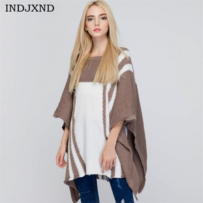 INDJXND NEW Autumn Winter Women's Clothing Pullover Shawl Sweaters Bat Sleeve High Quality New Casual Elegant Sweater Cape Coat