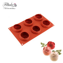 FILBAKE Creative Home Kitchen Baking Silicone Moulds 6 Aavities 3D Flower Rose Shape Cake Molds Decorating Tool For Mousse Mold(China)