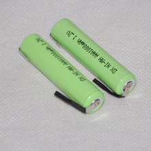 2PCS 1.2V AAA rechargeable battery 1000mah 3A 10440 ni-mh nimh cell with pins for Philips Braun electric shaver razor toothbrush