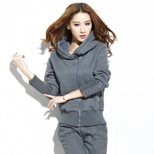 Autumn and Winter Thick  Sport Outfits for Women  Casual Loose Velvet Hooded Hoodie + Pants Female Clothes Suit