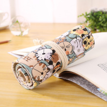 24 Holes Pencil Case School Canvas Roll Pouch Sketch colored pencil shade Brush Pen Storage pecncil box Estuches School penalty(China)