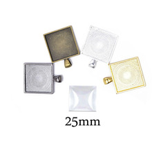 10Pcs Fit Square 25*25mm Glass Cabochons Ccameo Blank Settings Blank Pendant Tray Bezel Blank For DIY Finddings