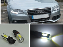 2x Xenon White P13W  LED Bulbs Daytime Running Lights DRL For 2008-12 Audi B8 model A4 or S4 with halogen headlight trims