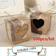 Event Party Supplies 100pc DIY kraft retro hollow love candy box Wedding Favor Gift Box Favour Gift  Boxes Accessories-B