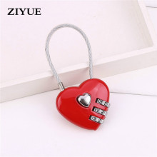 Free shipping Red  Mini Heart Shape Mini Luggage Bag Zip Diary Notebook Combination Wire Rope Lock with Cable