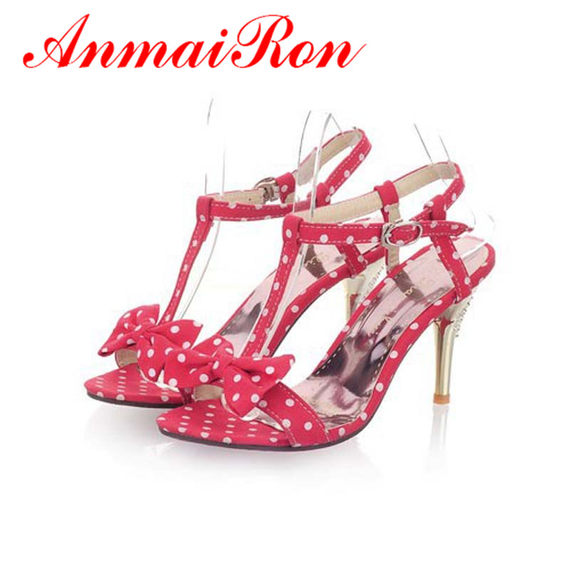 ANMAIRON big size 34-47 t-strap women Sandals bow Polka Dot High Sandals for women Black RED hot sweet Shoes women 9cm Sandals<br><br>Aliexpress