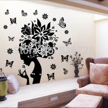 PVC Waterproof Wall Stickers Pure Black Floral Fairy Posters Hot Girl Butterfly Mural Bedroom Accessories adesivo parede