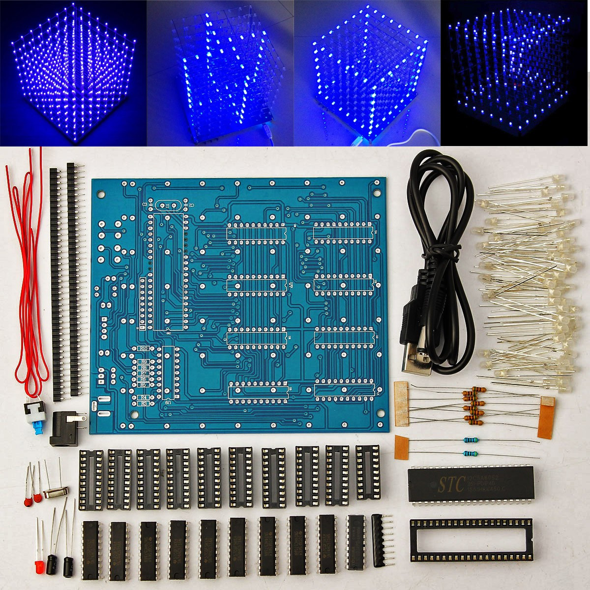 8x8x8 LED Cube 3D Light Square Blue LED Electronic DIY Kit Module(China)