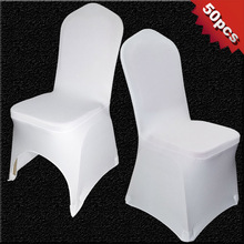 50 PCS White Polyester Spandex Chair Covers for Weddings(China)