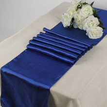 30*275 cm Royal blue European style Fashion Banquet party table cloth good quality Satin wedding table runner(China)