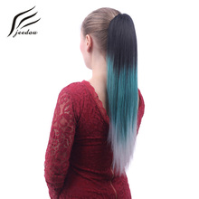 "jeedou Straight Synthetic Omber Color Ponytails Claw Ponytail Hair Extensions 22"" 55cm 130g Blue Pink Gray Women's Hairpieces(China)"