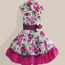Shybobbi New Girls Dress + Hat Pink Flower Print Party Pageant Princess Fashion Baby Children Clothing Size 2-7