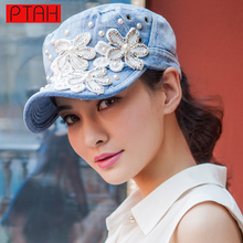 PTAH Hot Sale Women Hip Hop Caps Floral Denim Diamond Point Baseball Hat Good Quality Brand For Ladies Adjustable Casquette 4106