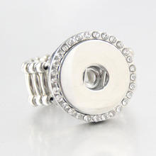 Vintage Crystal DIY elastic adjustable snaps ring fit 18mm metal snap buttons R267women's fashion jewelry Men's ring(China)