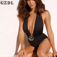 GZDL Milk Silk One Piece Women Sexy Halter Off Shoulder Bodysuit Wrap Swimwear Skinny Backless Bathing Monokini Swimsuit CL3652