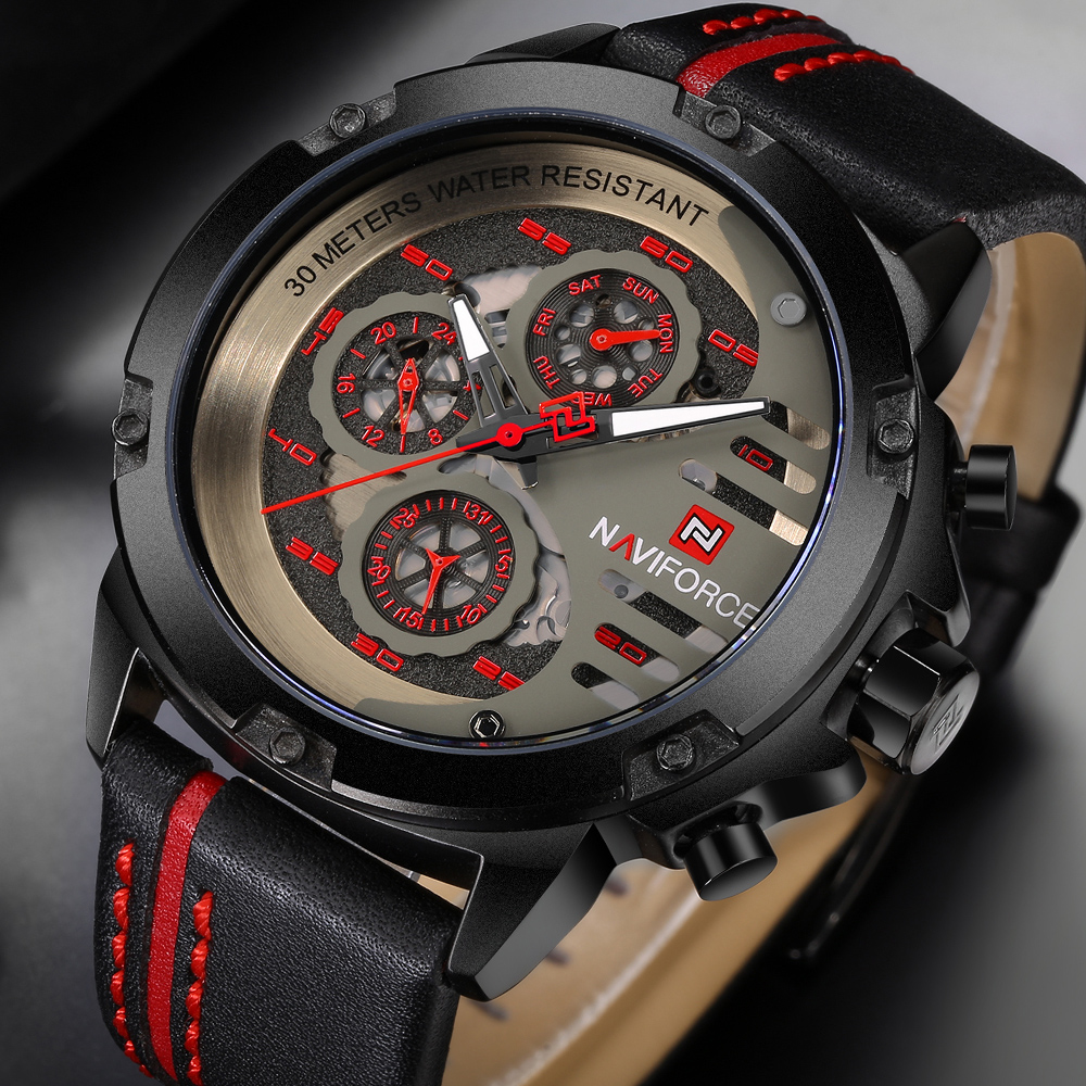 Naviforce Men Watch Relogio Masculino Top Brand Luxury Leather Military Watch Clock Men Quartz Watches Relojes Hombre Relogios<br>