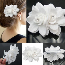 Great 2017 Bridal Wedding Orchid Flower Hair Clip Women Hairpins Barrette Bridal Wedding Party Hair Accessories(China)